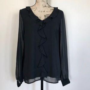 •The Limited• chiffon ruffle blouse {G14}
